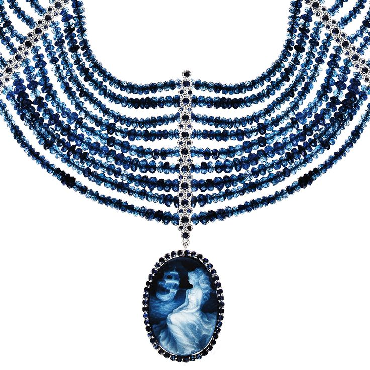 Necklace 518 | Agate Cameo / Tanzanite Beads / Sapphire / White Gold