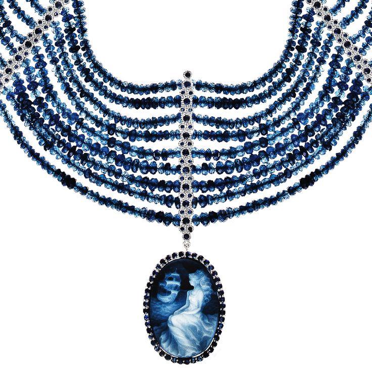 Necklace 518 | Agate Cameo / Tanzanite Beads / Sapphire / White Gold