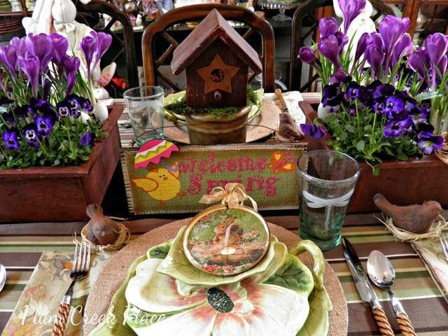 Spring Table Setting, Burlap Chargers, Park Design Enchanted Forest Plates,  Violas, Crocuses