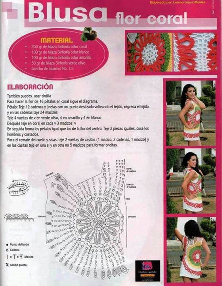 Top Jersey con un Circulo de Crochet Patrones - Patrones Crochet