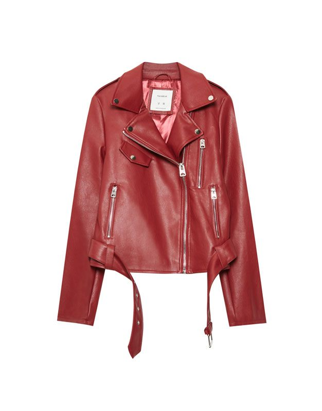 Faux leather biker jacket with belt - Jackets - Coats and jackets - Clothing - Woman - PULL&BEAR United Kingdom