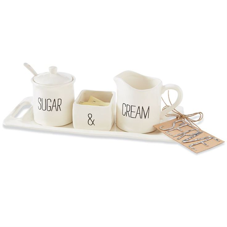 6-piece set. Mottled ceramic cream and sugar set features 'CREAM' stamped bowl, sugar packet holder with stamped '