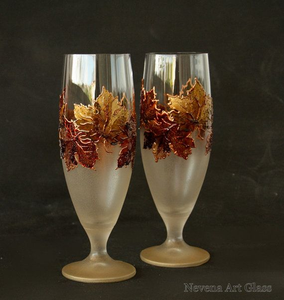 Beer Glasses Beer Wedding Glasses Autumn Wedding by NevenaArtGlass