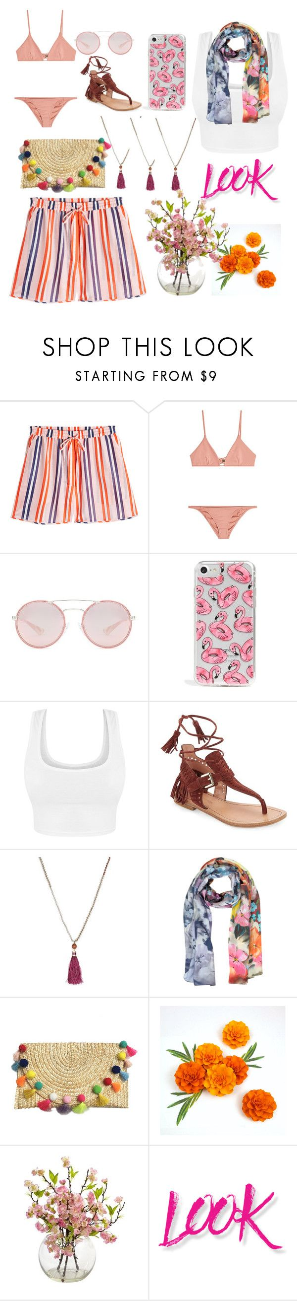 """""""in the summer"""" by nadialestari99 ❤ liked on Polyvore featuring Diane Von Furstenberg, Melissa Odabash, Prada, Skinnydip, Sigerson Morrison, Kate Spade, Laura Biagiotti and NYX"""