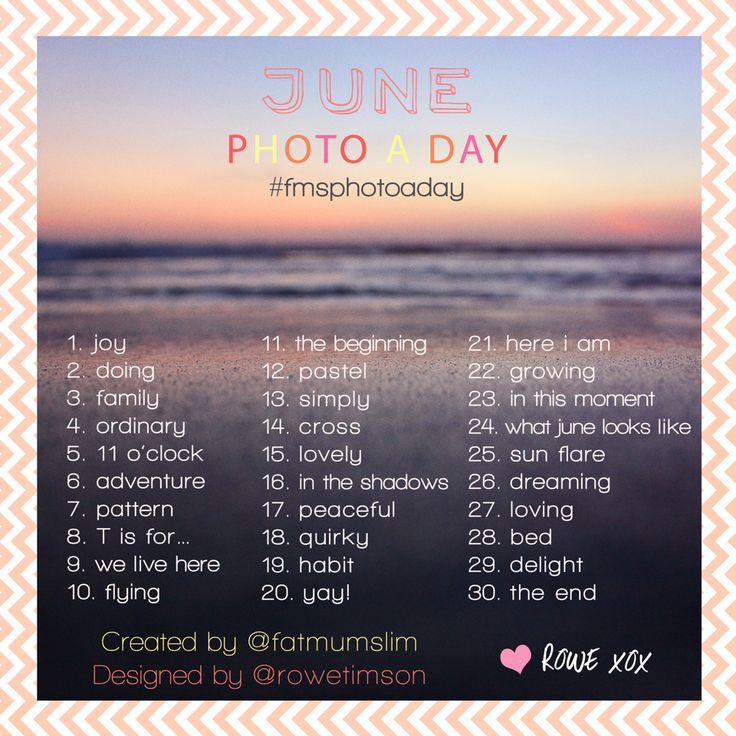 June Photo A Day: The list created by my lovely friend Rowe Timson - Fat Mum Slim