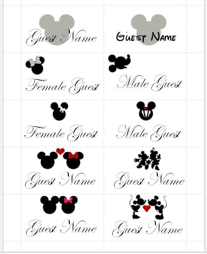 Mickey & Minnie mouse guest name cards