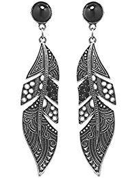 2LIVEfor Lange Ohrringe Feder Schwarz Ohrringe silber hängend Ohrringe Lang mit Steinen Antik Style Tropfenform Ohrringe Ethno Silber