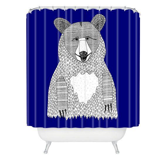 Bear Shower Curtain Blue Shower Curtain by LushTartArtProject