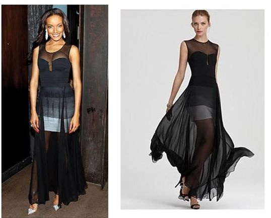 BCBG MAXAZRIA ALAI EVENING DRESS  Youre guaranteed to make an entrance in this sophisticated floor-sweeping dress.  Round neck. Sleeveless.  Sheer shoulders and yoke. Bandage-style bodice with notched sweetheart neckline. Tonal bandage skirt with   sheer chiffon overlay.  Exposed cente...