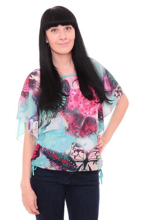 Блузка бирюзовая А7665 Размеры: 48-50 Цена: 450 руб.  http://optom24.ru/bluzka-biryuzovaya-a7665/  #одежда #женщинам #блузки #оптом24
