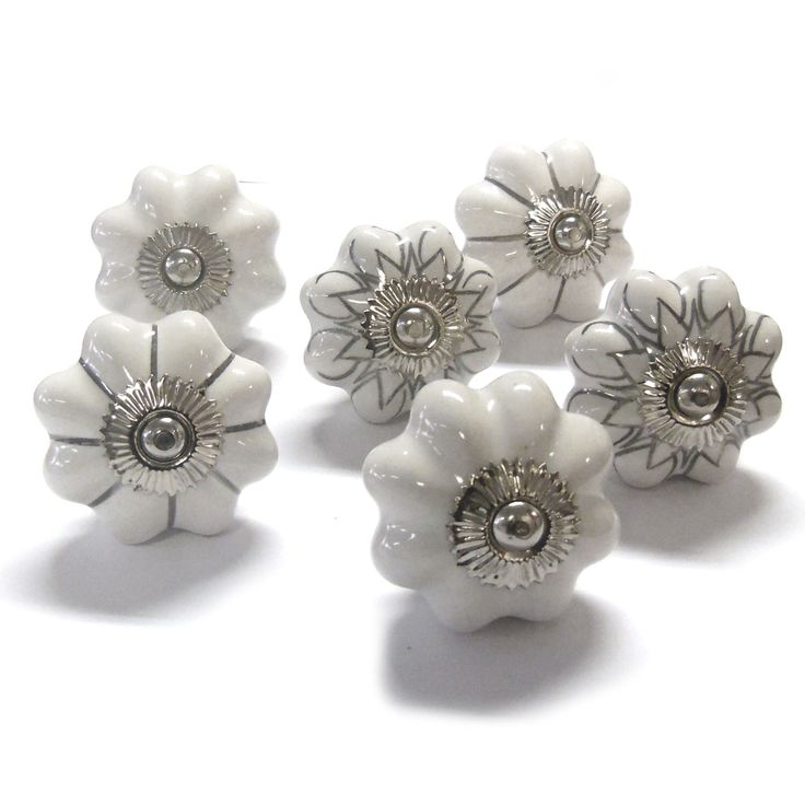 PKS18 - Set of 6 Mushroom Shape White and Silver Ceramic China Cupboard Door Knobs suitable for chest of drawers, wardrobes & kitchen doors by PushkaHome on Etsy https://www.etsy.com/listing/237375016/pks18-set-of-6-mushroom-shape-white-and