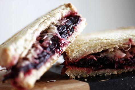 Vegan beetroot pastrami reubens sandwich.