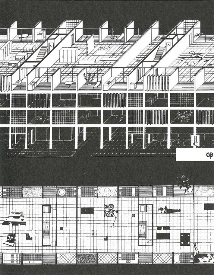Projet théorique de W. J. Neutelings, A. Wall, X. de Geyter et F. Roodbeen pour le concours «Habitatge i Ciutat», Quaderns, Barcelone, 1990