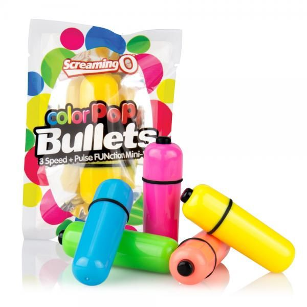 Screaming O Color Pop Bullet Neon Pink. Color Pop Bullets match the incredible super power of the top rated Screaming O 3+1 Bullets with intense bursts of super bright colors for dazzling sensations. Featuring waterproof construction and a compact on the go size, choose from 5 brilliant hues for the ultimate in vibrant vibration. Vibrating bullet features bright neon colors for vibrant vibration. Portable 3 speed plus pulse vibrating bullet. Easy one touch activation. Color neon pink.