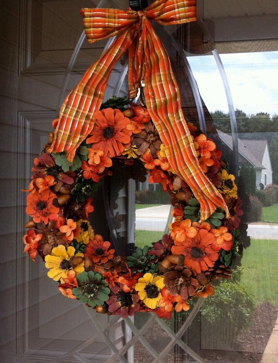Pine Cone Wreath Fall Wreath Flower Wreath by CraftElegance