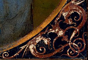 Рама. Ею служила та же доска, на которой была написана «Мадонна Конестабиле». Публицист Владимир Стасов в статье «Художественная хирургия» в «Санкт-Петербургских ведомостях» от 27 ноября 1871 года рассказывал, как картину вырезали оттуда для последующего переноса с дерева на холст: «Операцию совершили посредством тонкой, как волосок, пилки вроде тех, какими нынче по новой моде выпиливают из дерева рамки, коробочки и всякую всячину.  Подарок императора | Публикации | Вокруг Света