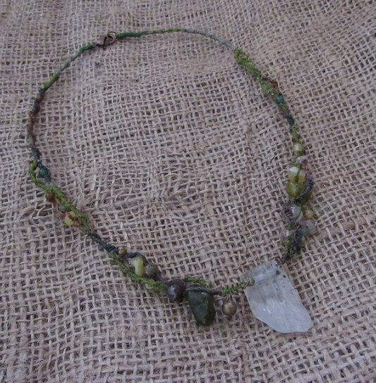 Green Macrame Crystal Necklace Hand Dyed Flax & by tinkertailoruk