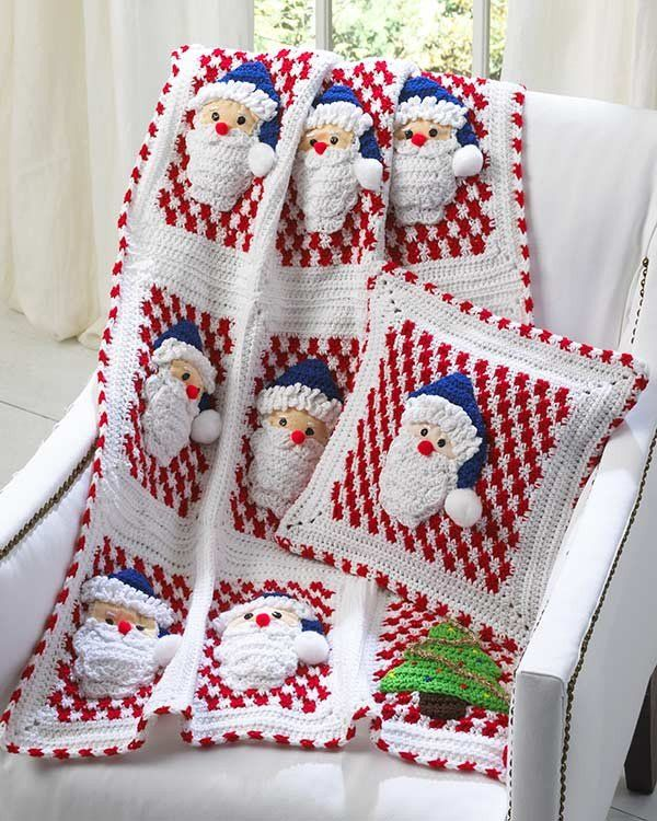 Watch Maggie review this cute Santa Afghan Wall Hanging and Pillow Crochet Pattern! Designs By: Donna Collinsworth   Skill Level: Intermediate Size: Afghan - 45