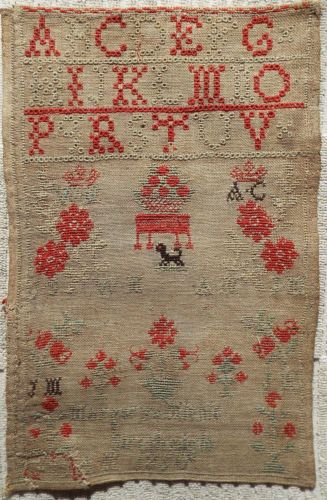 19TH CENTURY LINEN & WOOL SAMPLER BY MARGERY MICHIE - STRATHMIGLO 1850