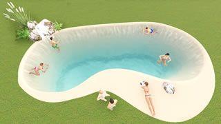 Piscina alargada 10x4 m - Piscinas de Arena Natursand