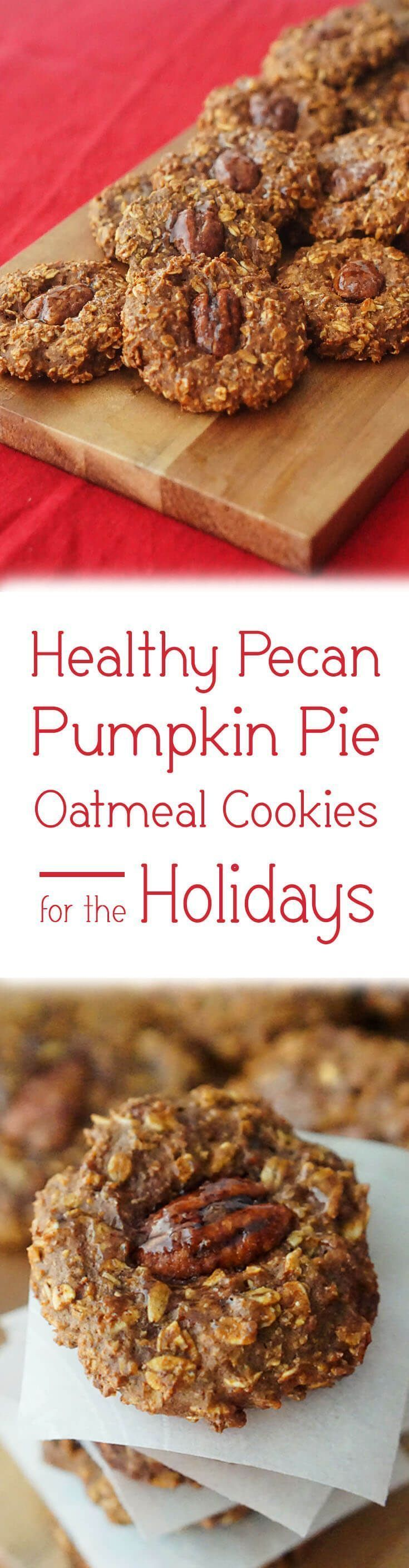 These Pecan Pumpkin Pie Oatmeal Cookies are the perfect holiday treat. (fall recipes pecan pies)