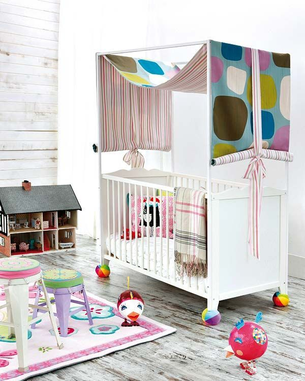 mommo design: 10 COLORFUL IKEA HACKS - Hensvik crib whit canopy