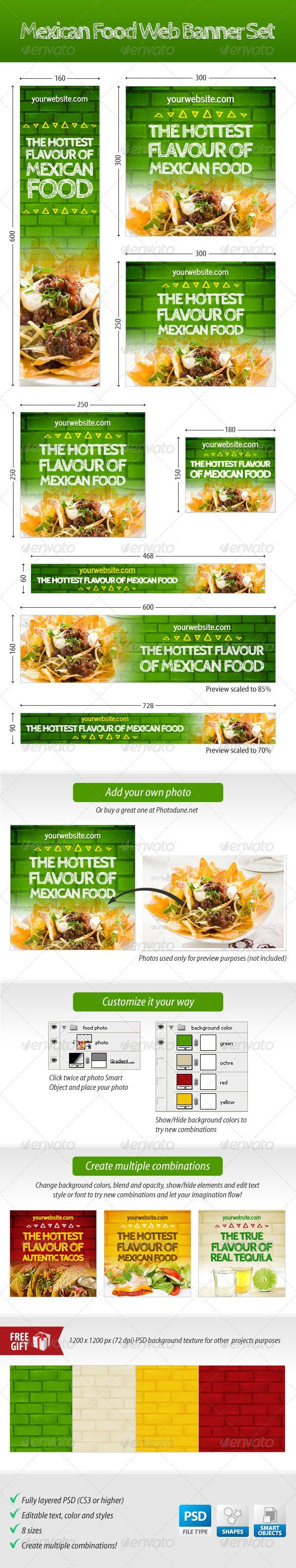 Mexican Food Web Banner Set - GraphicRiver Item for Sale  | Google Adwords Banners, Static Banners, banner pack, banner set, banners adwords, marketing, advertising, web banners