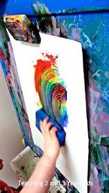 Rainbow sponge painting!