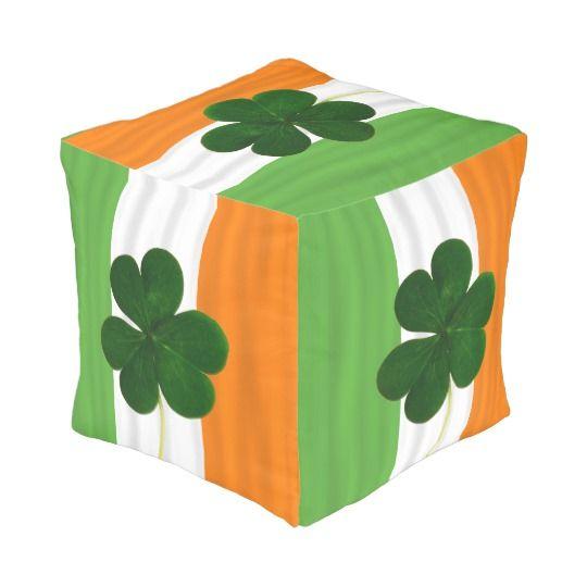 Happy St. Patrick's Day Irish Flag Shamrock Paddy Pouf