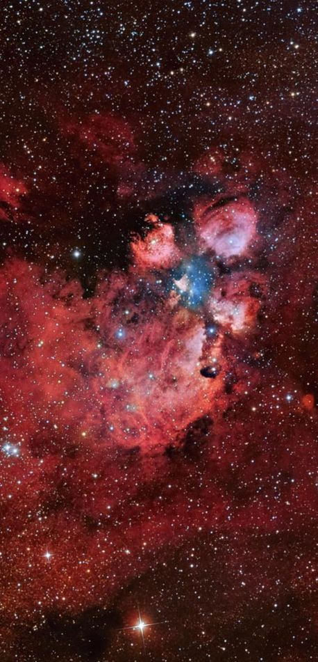 Cat's Paw Nebula ~ Nebulas are known for being identified with familiar shapes. Introducing the Cat's Paw Nebula visible in Scorpius. At 5,500 light years distant, Cat's Paw is an emission nebula with a red color that originates from an abundance of ionized hydrogen atoms. Alternatively known as the Bear Claw Nebula or NGC 6334, stars nearly ten times the mass of our Sun have been born there in only the past few million years. Pictured above is a deep field image of the Cat's Paw nebula.