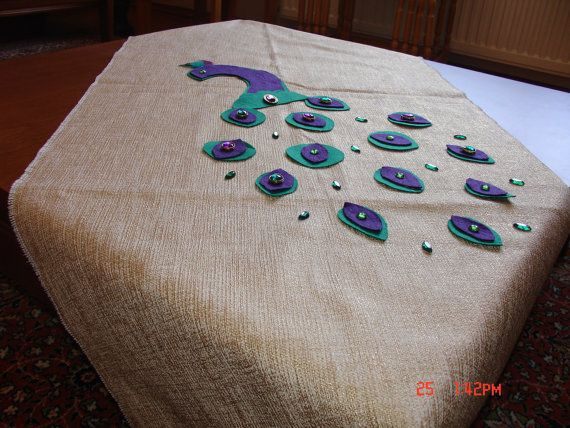 FREE SHIPPING! Tablecloth / Runner / Special Design / Hand Made / Decorated With Felt Peacock Design on Etsy, $60.00