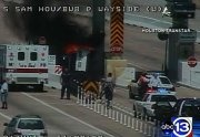 abc13 News-  A scary scene is unfolding now on the South Sam Houston Tollway at Wayside, where a car is engulfed in flames at a toll booth.  We have a crew heading to the scene.  Stay with Eyewitness News and abc13.com for the latest on this breaking story.