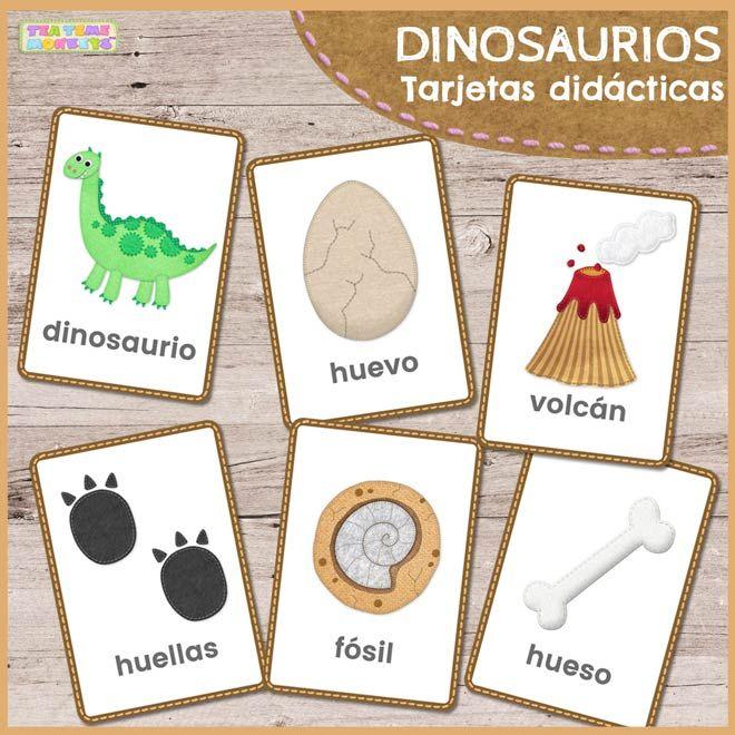 Perfecto para enseñar sobre los dinosaurios, este conjunto de divertidas tarjetas didácticas incluye las palabras: dinosaurio, huevo, fósil, volcán, hueso y huellas. ¡Utilízalas en el cole o en casa para ayudar a tus pequeños leer y escribir o para juegos de vocabulario!
