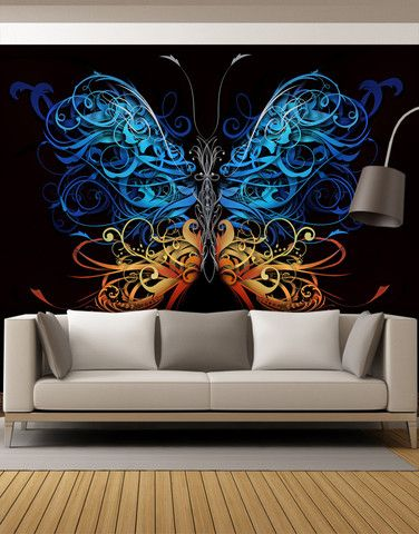 large swirl butterfly wall graphic mural