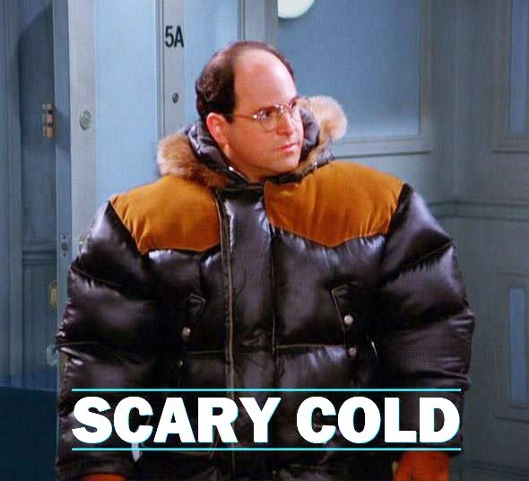 """""""It's gortex!"""" What's your definition of """"Scary Cold""""? #Costanza #Seinfeld"""