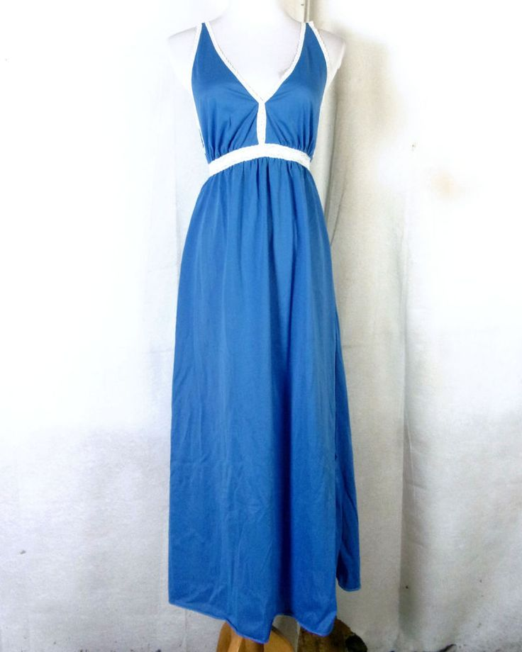 vtg 60s Montgomery Ward blue Maxi Dress Full Slip Empire Nightgown Lingerie SZ S