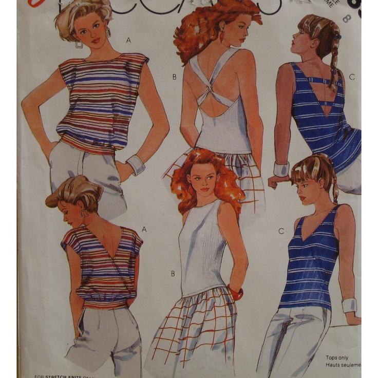 Jersey Knit Tank Tops Pattern, Sexy Open Back T-Shirts, Bateau or V-Neck, Sleeveless McCalls No. 2035 Size 8. $7.00, via Etsy.