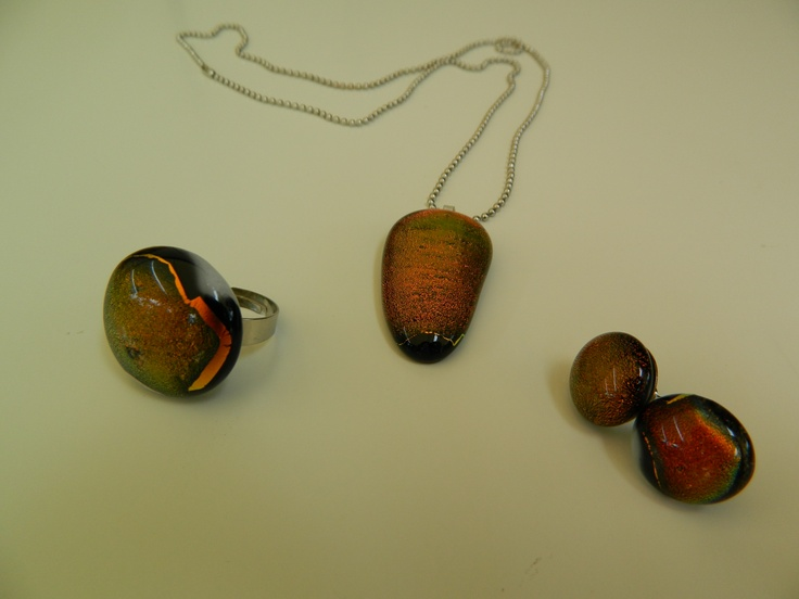 Fused dichroic glass set of pendant, ring and earrings