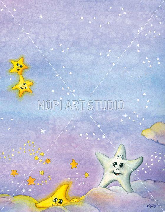 Nursery Decor Painting, Digital Instant Download, Watercolor Painting, Happy Christmas Stars illustration, Kids Room Wall Art, Xmas Decor by NopiArtStudio on Etsy