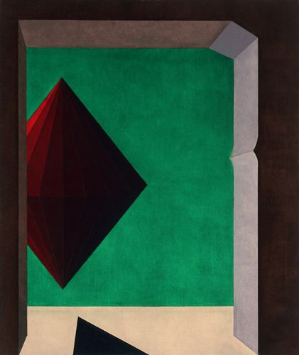 The Hypothesis of Knossos (opus CXXIX ) 1968 oil on canvas,130X110 cm .Foundation Collection Saffaro,Bologna.