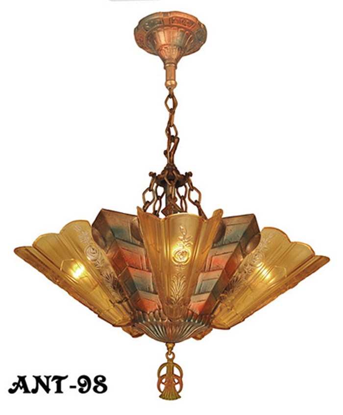 art deco chandelier ebay nouveau reproduction antique slip shade parts