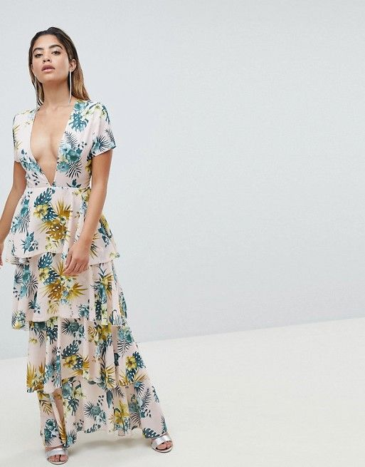 1082545c55 Missguided Plunge Tiered Maxi Dress