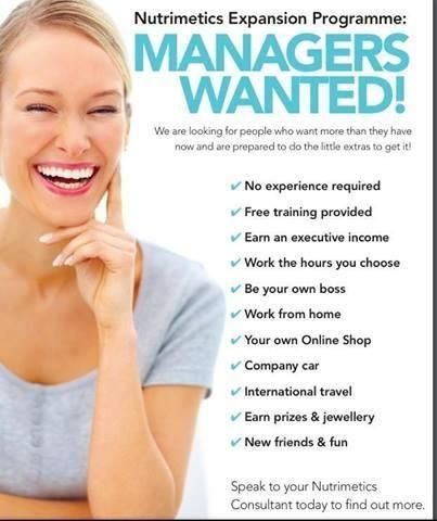 Trainee Managers Wanted.  www.nutrimetics.com.au/cyndi  Phone/Text Cyndi on 0432488156 for more information.