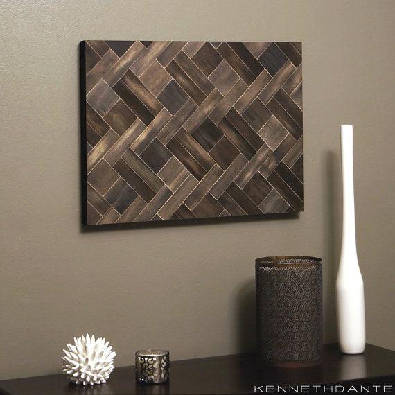 Reclaimed Wood Art Mosaic Wall Hanging Wooden Hybrid Herringbone Pattern Earthy Neutrals Multicolored 24 x 18