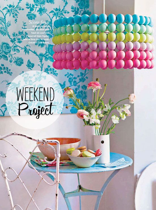 Colorful Ping Pong Ball Chandelier ~ fabulous Weekend DIY project from @Poppytalk