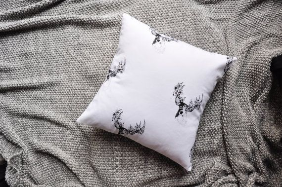 Black And White Stag Print Envelope Cushion Cover by trimandthread