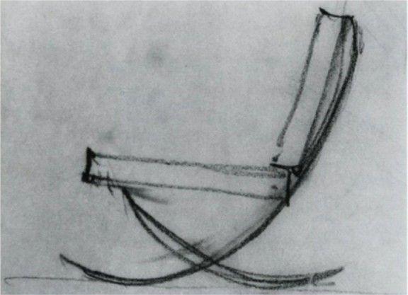 """Mies van der Rohe 1928 sketch of the """"scissor"""" chair later to be named the Barcelona chair"""