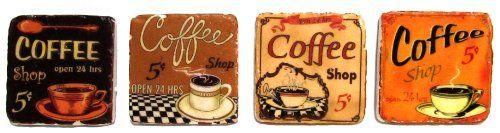 VIP International Retro Rustic Coffee Shop Resin Tile Coasters.  I like! I like!