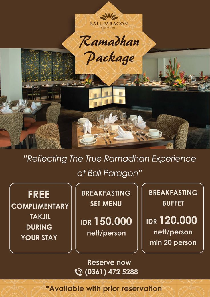 Reflecting the true Ramadhan Experience, with our Ramadhan Package Menu. Happy Breakfasting and Stay Inspired!