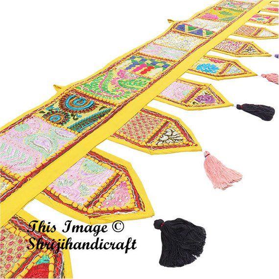 Door Toran – Boho window valence Indian door hanging bohemian tapestry gypsy curtain hippie home decor Indian wall tapestry handmade toran